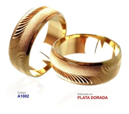 argollas matrimonio plata ley 0.950 doradas valor par