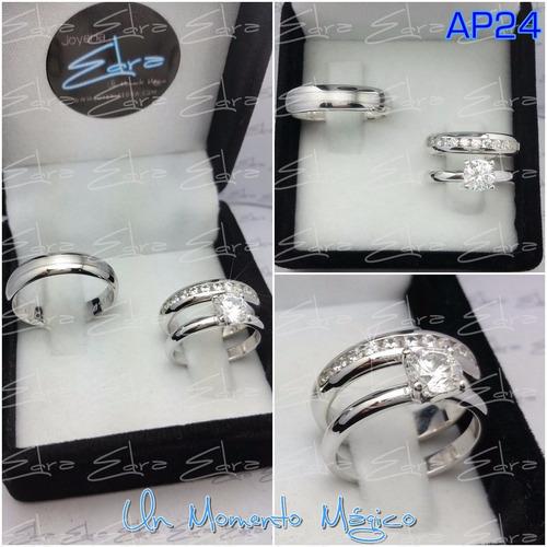 argollas matrimonio y anillo compr plata ley 950+rodio+grab