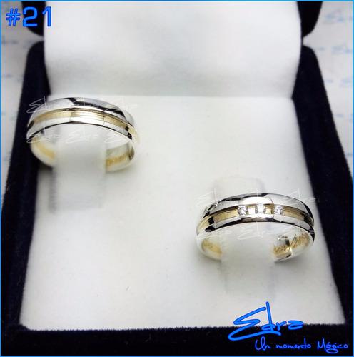 argollas matrimonio y compromiso en plata 950 y oro 18k c/u
