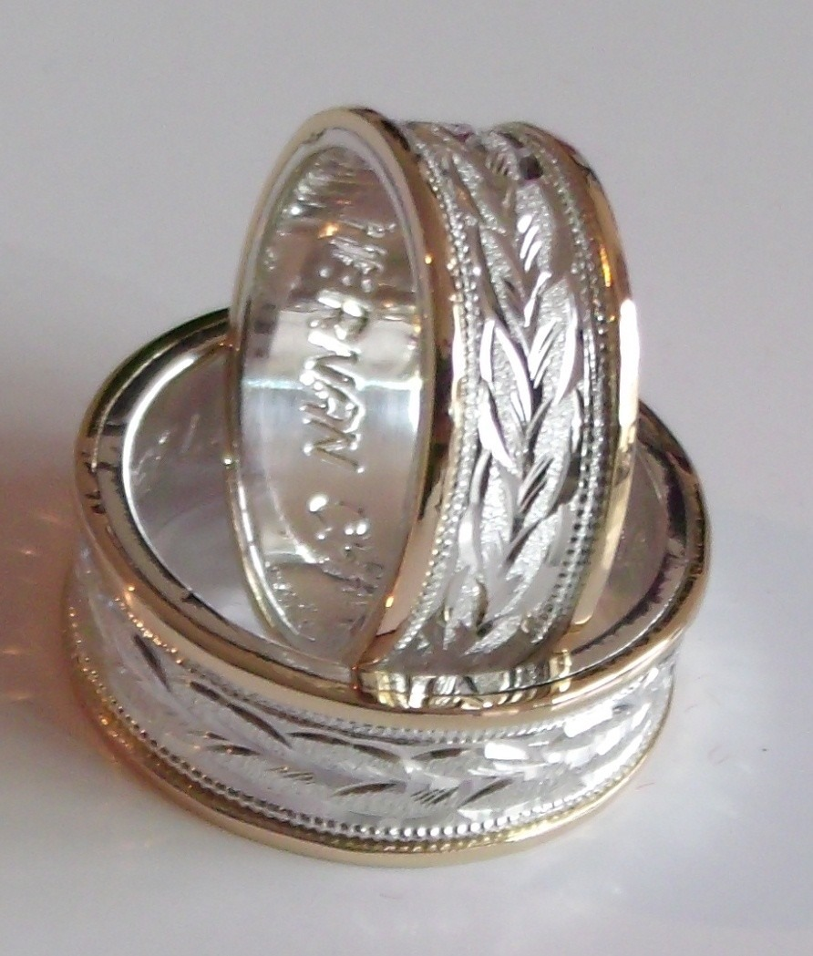 Argollas Para Matrimonio Plata 950 Y Lamina Oro 18k El Par