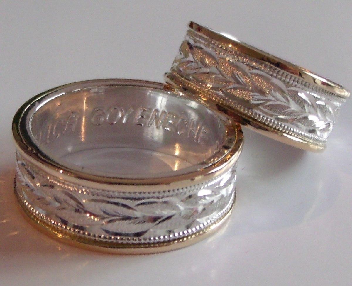08a28f101721 argollas para matrimonio plata 950 y lamina oro 18k el par. Cargando zoom.