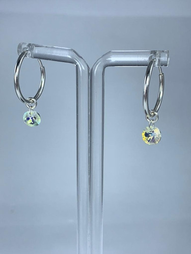 argollas plata dije cristal swarovski element aurora boreal