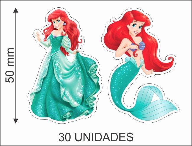 Ariel Pequena Sereia 30 Toppers Recortes 5cm Convite R 16 49 Em