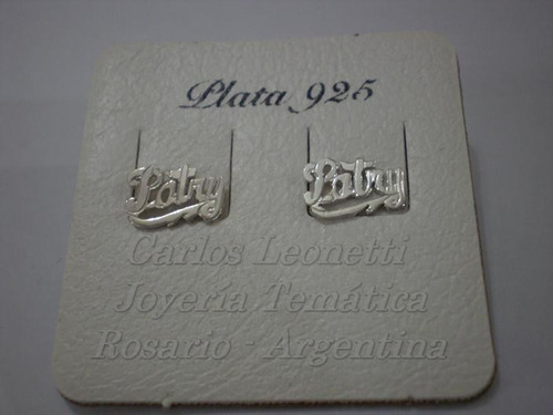 aritos  con nombre corto o diminutivo en plata 950,