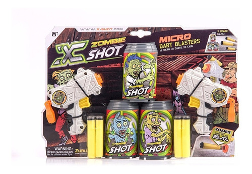 arma lanza dardos x-shot zombie x 2 + 8 dardos + 3 blancos