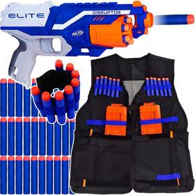 Arma Nerf Strike + Colete + Pulseira + 30 Dardos Brinquedo