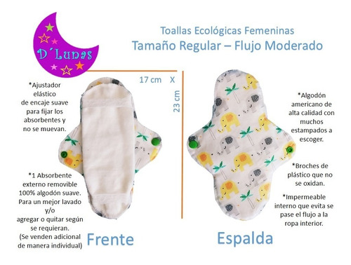 arma tu paquete de toallas ecologicas femeninas