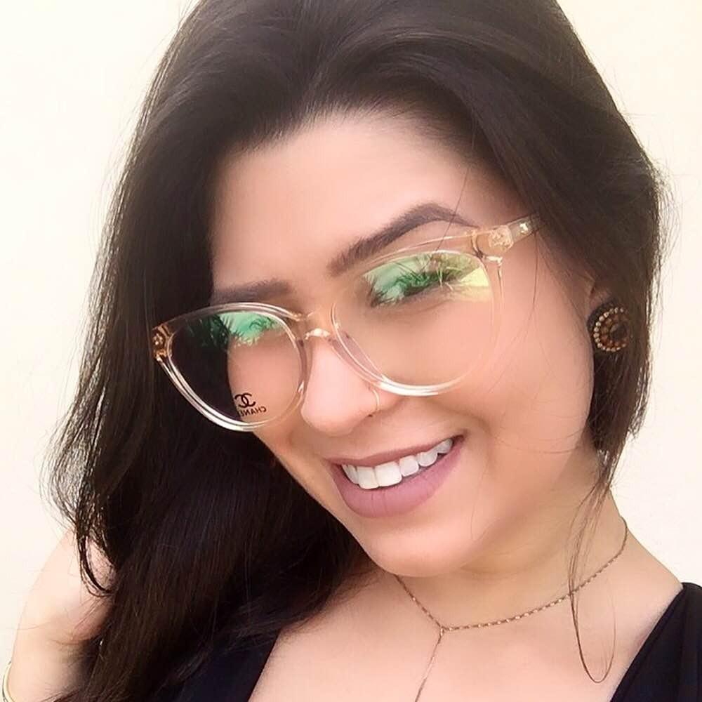 bdc56a3e70aee armacao oculos chanel transparente dourado. Carregando zoom.