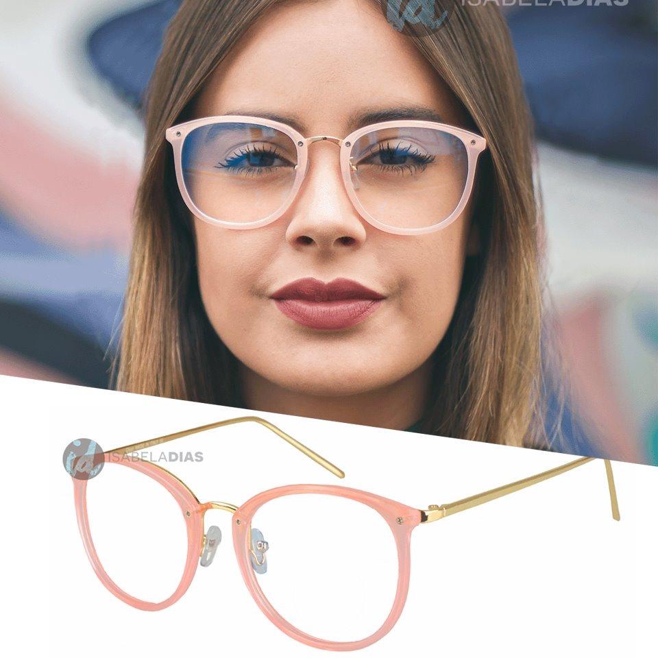 Armacao Oculos De Grau Feminino Retro Quadrado Redondo Preto - R  48,89 em 83051e9011
