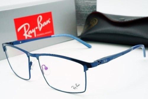 1c1ebd9b4 Armacao Oculos Grau Masculino Quadrada Titanio Ray Ban Azul - R$ 120 ...