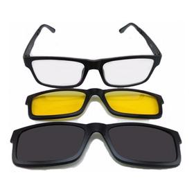 Armação Oculos Grau Sol Masculino 3 Clip On Polarizado Femin