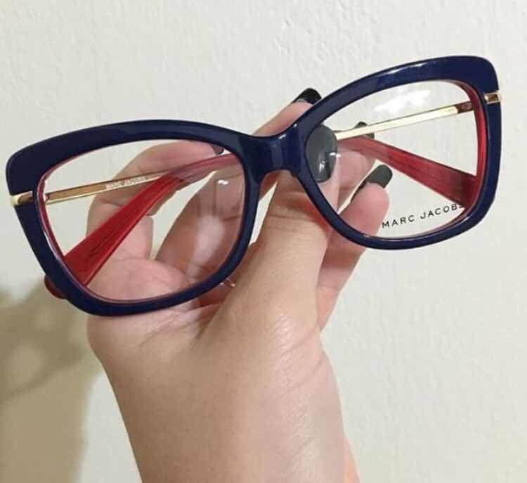 0b86f98cb202a Armacao Oculos Marc Jacobs Marinho Branco Vermelho - R  155