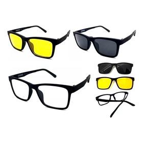 Armação Oculos Masculino Para Grau Clip On Polarizado Barato