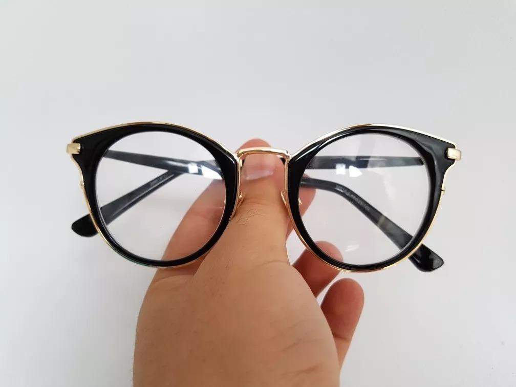 Armacao P  Oculos Grau Redonda Preto Acetato - R  129,00 em Mercado ... fe0339ef3b