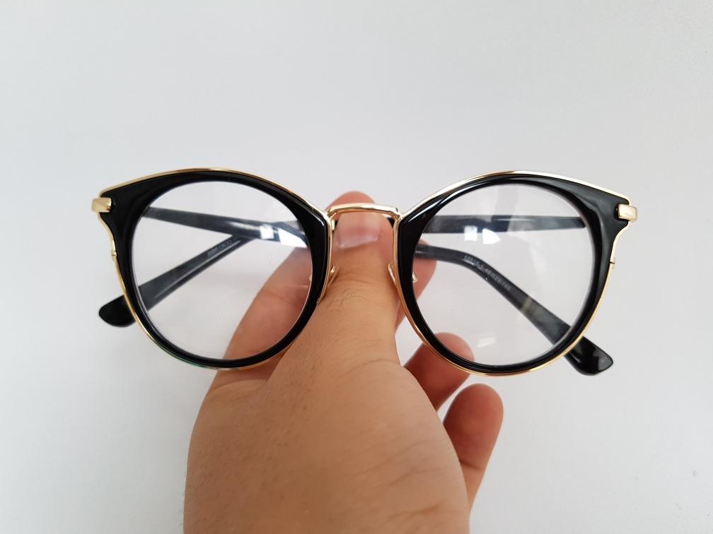 5fd79dd7f93e3 armacao p  oculos grau redonda preto com dourado acetato. Carregando zoom.
