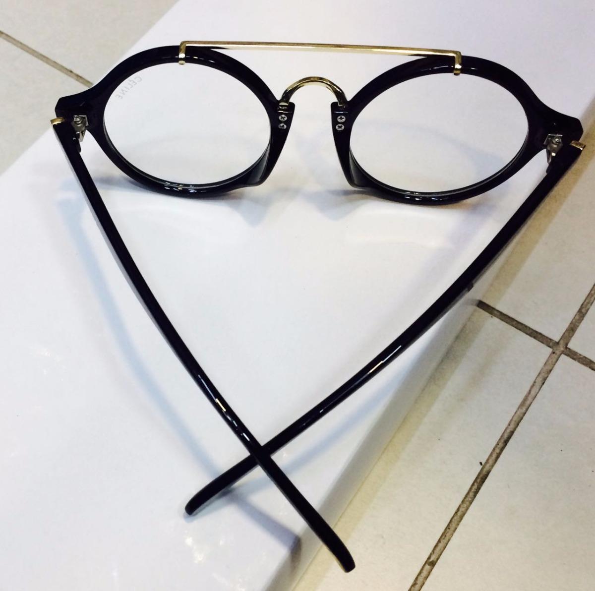 f23b188633e armação de grau celine óculos preto em acetato -ce501. Carregando zoom.
