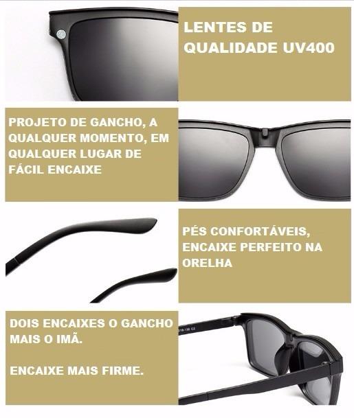 cb20a9ec2 Armação De Grau Clip On, Preto + Lente Multifocal Poli Ar - R$ 482 ...