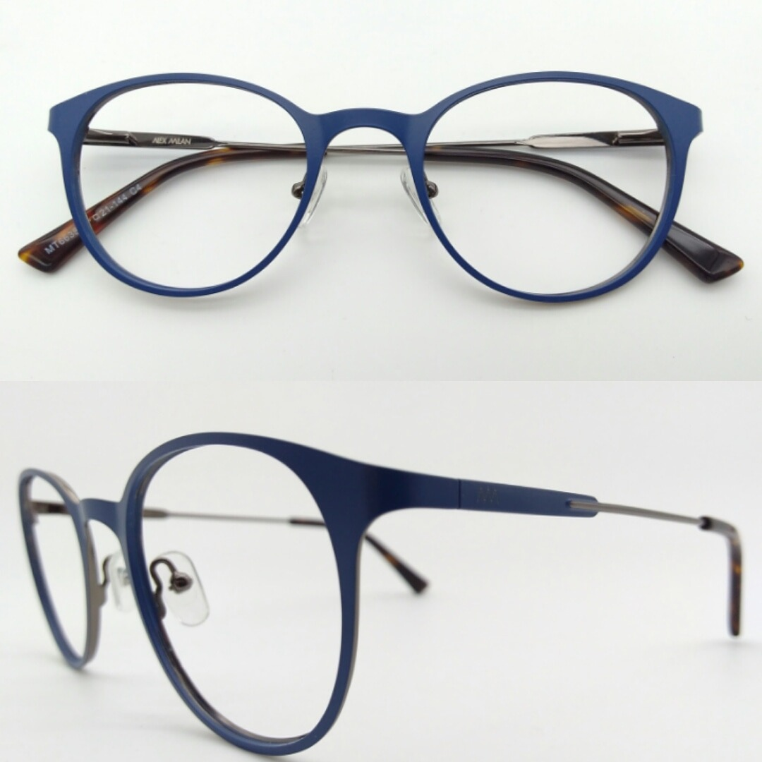 36094a38d1ca2 armação de grau óculos redondo metal azul fosco 6638-c4. Carregando zoom.