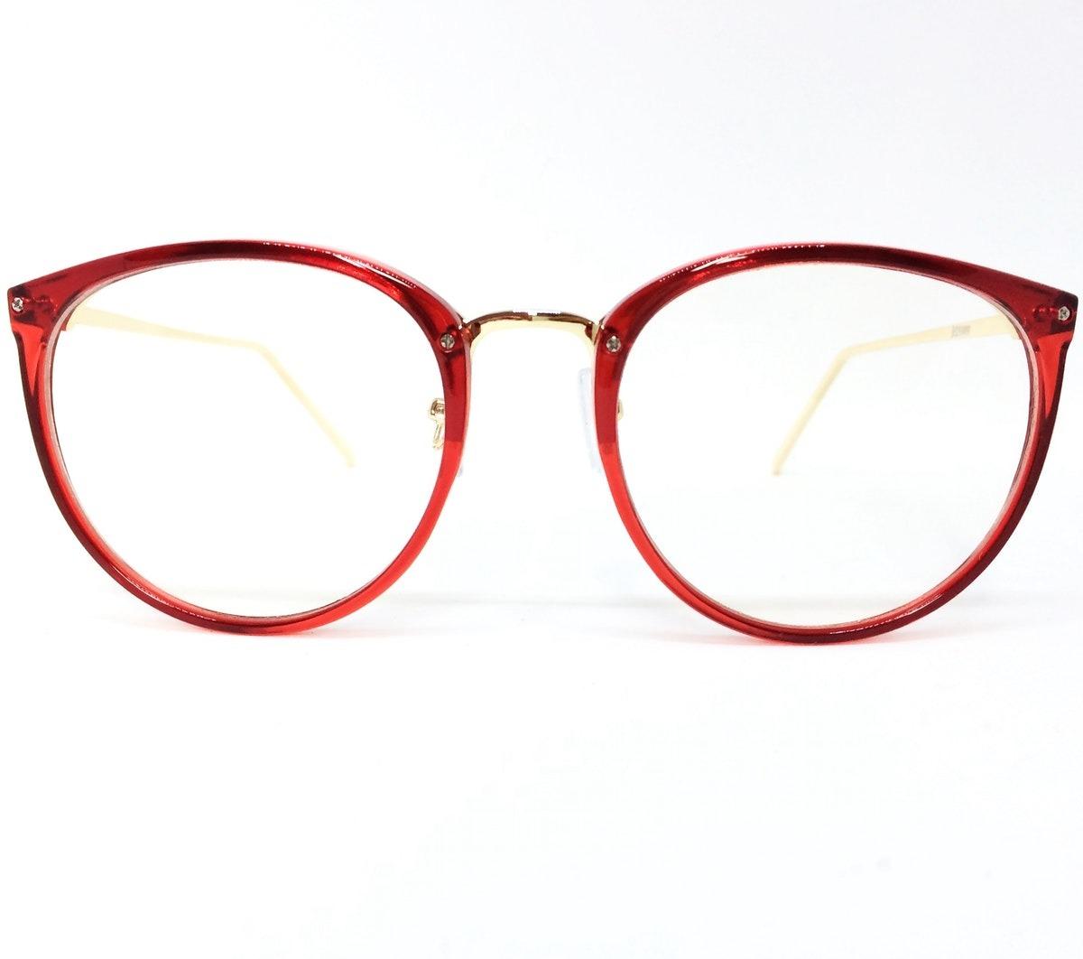 6ae54a9b8d5ae Armação De Luxo Redonda Para Óculos De Grau - Vermelho E - R  117,97 ...