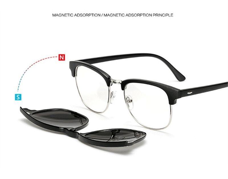 efefff26d Armação De Óculos + 5 Lentes Clip On De Sol E Noturna - R$ 180,00 em ...