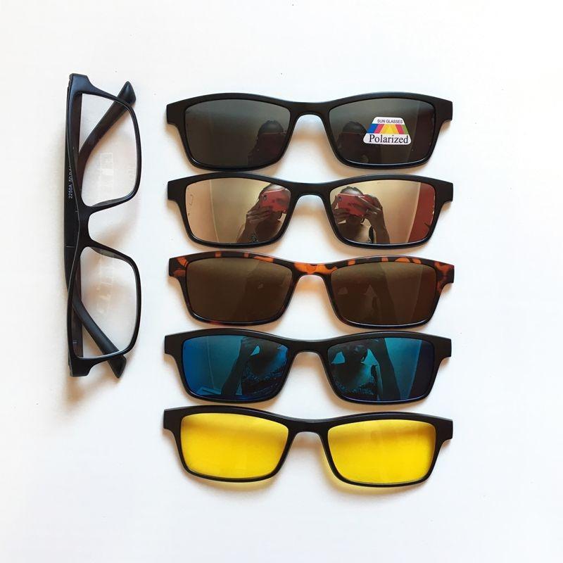 Armação De Óculos + 5 Lentes Clip On Retangular De Sol - R  180,00 ... a1cd00187e