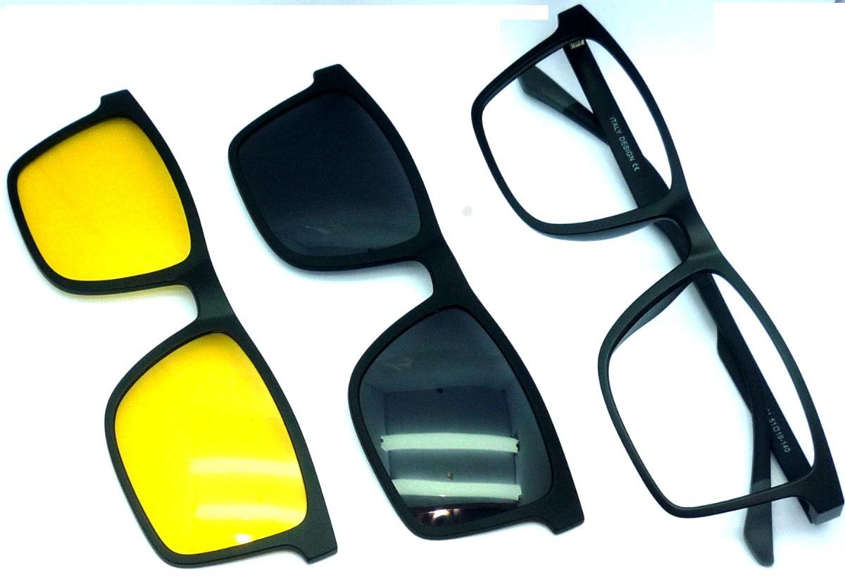 armação de óculos clip on 3 em1 p  grau,sol e noite   armani. Carregando  zoom. dfb8e2c08b