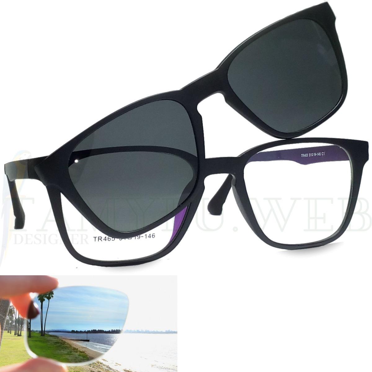9c72b95ec0b6f Armação De Óculos Clip On Solar Polarizado - R  69,45 em Mercado Livre