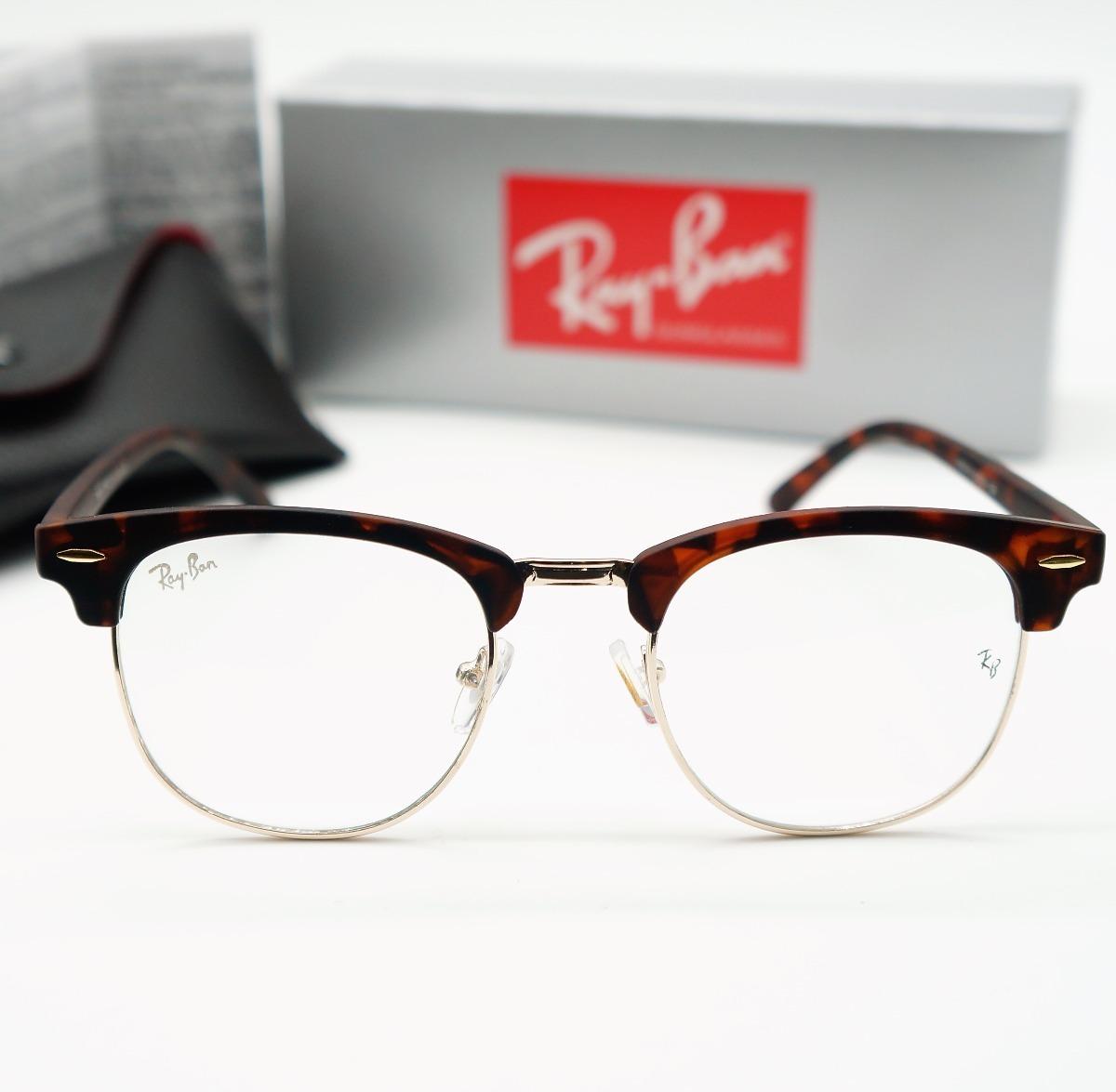 a140de405 armação de óculos clubmaster estilo rayban marrom tartaruga. Carregando  zoom.
