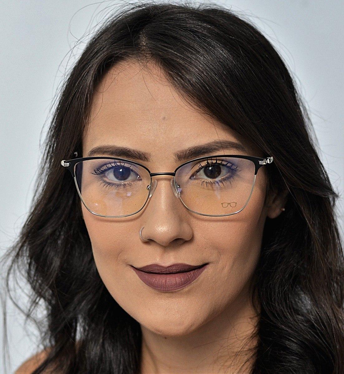 11101ea18 Armação De Óculos De Grau Metal Feminino Bless - R$ 150,00 em ...