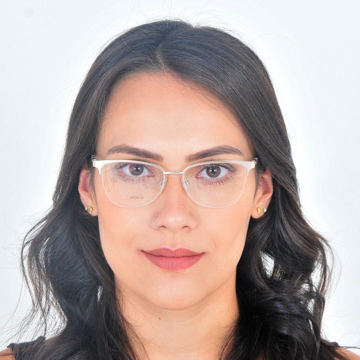 8483a6ba871ad armação de óculos de grau metal feminino fio de nylon bless. Carregando  zoom.