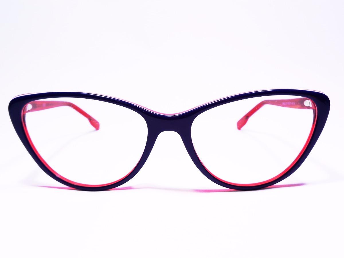 Armação De Óculos Gatinha Feminina Acetato Lentes Grau Rm213 - R  49 ... 284f9bb034