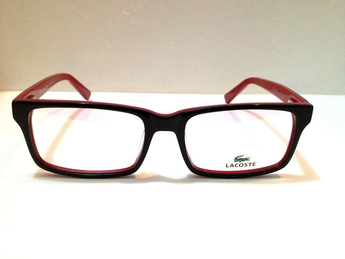 f1a7dd76ff763 armação de óculos lacoste acetato preto c  vermelho. Carregando zoom.