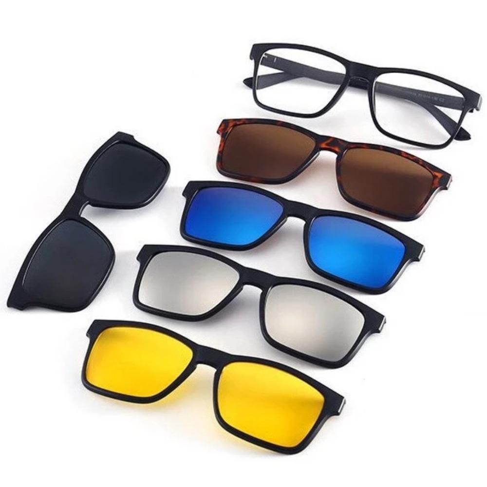 b457b5140 armação de óculos p/ grau clip on 6 em 1 polarizado e uv400. Carregando  zoom.