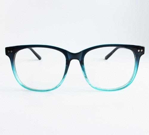 d87b51efe2804 Armação De Óculos Para Grau Feminina Quadrada Degradê Azul - R  59 ...