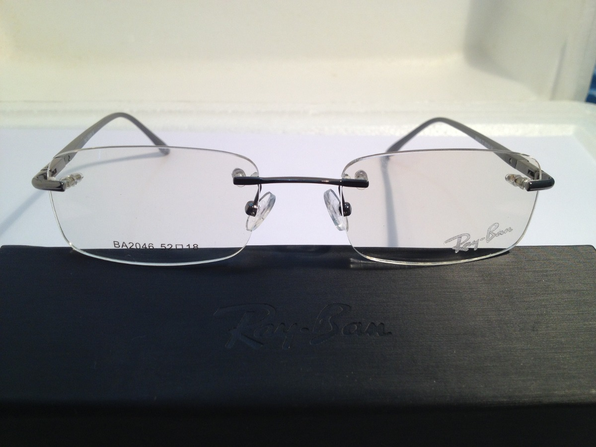 armação de óculos ray-ban sem aro hastes de metal prata. Carregando zoom. 684c590031