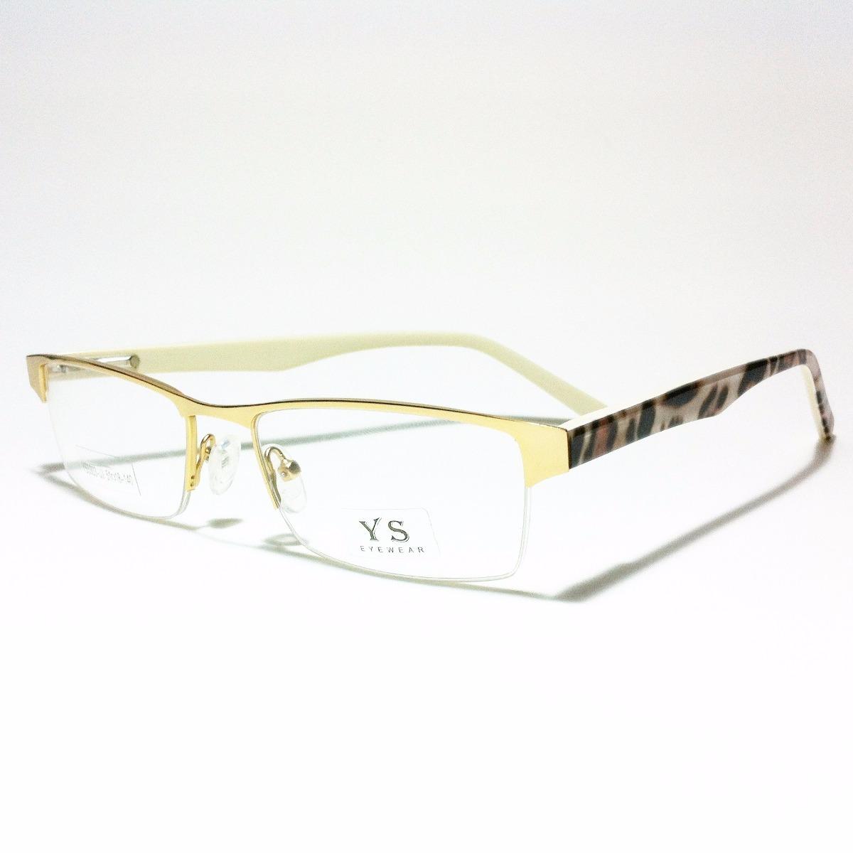 9fa75b80d5d67 Armação Dourada Mesclada Meio Aro Óculos Lentes Grau Ys5303 - R  28 ...