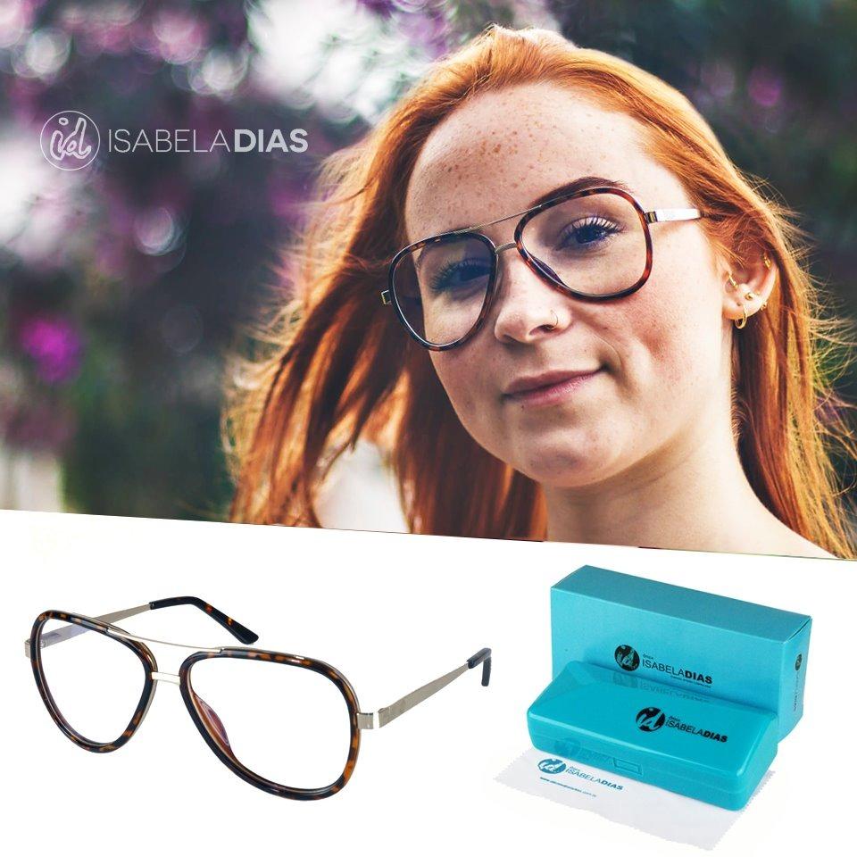 54045b90e Armação Feminina Óculos De Grau Aviador Isabela Dias 1322 - R$ 79,99 ...