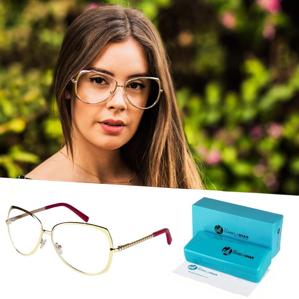 f9558f9aa2307 armação feminina óculos de grau aviador isabela dias 141159. Carregando  zoom.