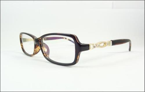 armação feminina oculos de grau tartaruga com cristais a594