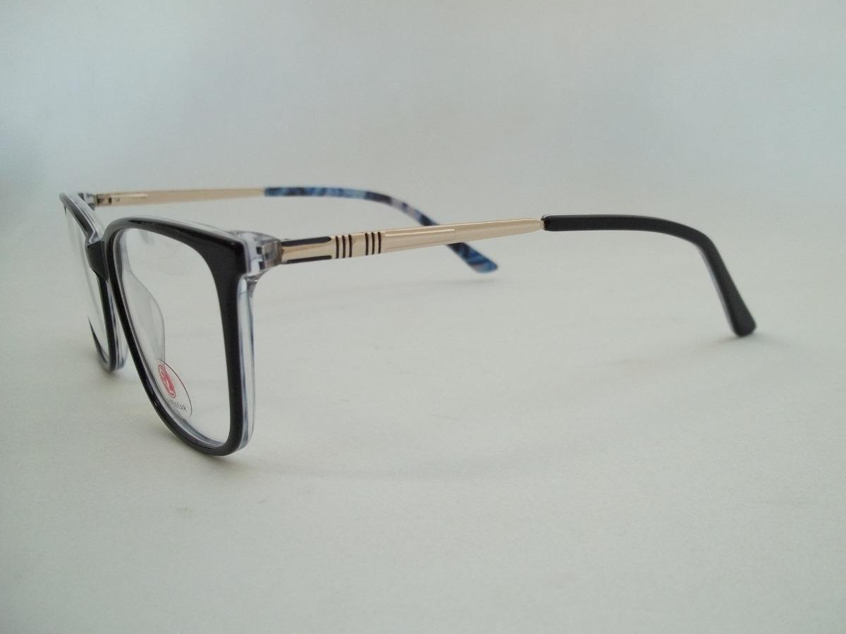 9a818f390111d armação feminina óculos p  grau acetato cor preta e dourada. Carregando zoom .