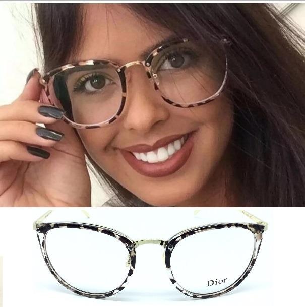 Armação Feminina Óculos Para Grau Vintage Geek Moda Gato - R  79,99 ... 5f4bb4ee82