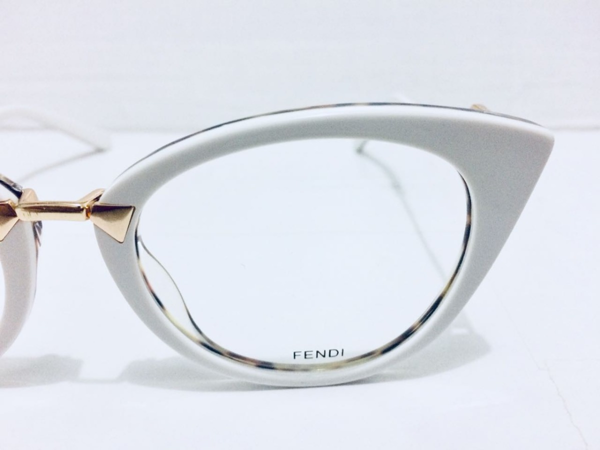 e0d6ee83d Armação Fendi Oculos Em Acetato Gatinho Onça E Branco -fe101 - R ...