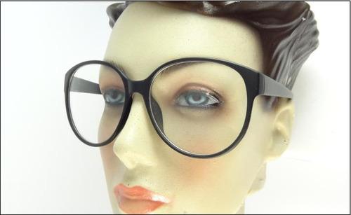 armação grande redonda oculos grau ou sol preto fosco - a595