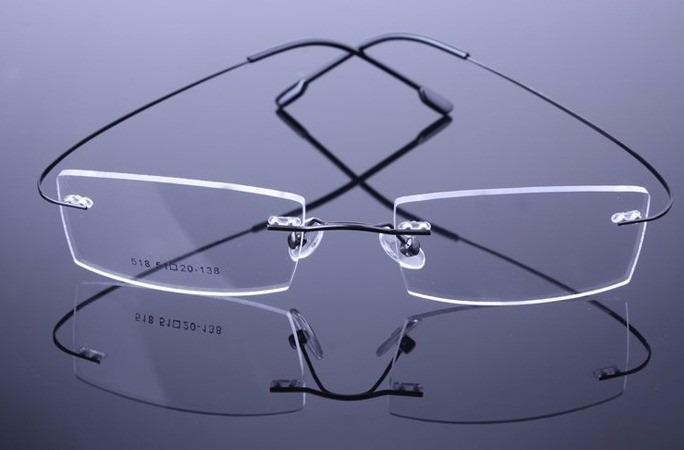 3ee3c307e Armação Grau Oculos Metal Titanium Preta Sem Aro Titanio 525 - R$ 99 ...