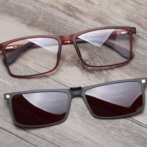 Armação Masculina Óculos Grau Com Lente Sol Clip On Tr90 140 - R ... 0900fc1a8e