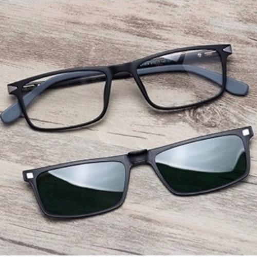 5187f5b49e272 Armação Masculina Óculos Grau Com Lente Sol Clip On Tr90 140 - R ...
