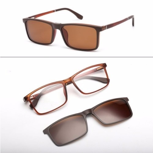 81f1462663354 Armação Masculina Óculos Grau Com Lente Sol Clip On Tr90 140 - R ...