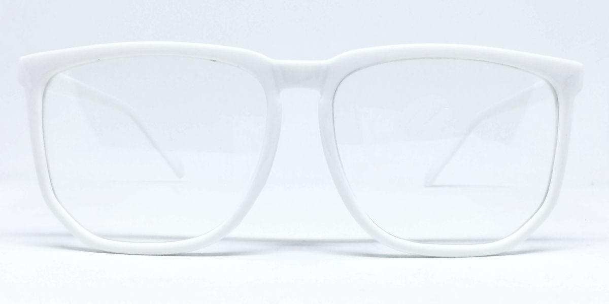47b2c6a8d8445 armação nerd retrô grande para óculos de grau - branca. Carregando zoom.