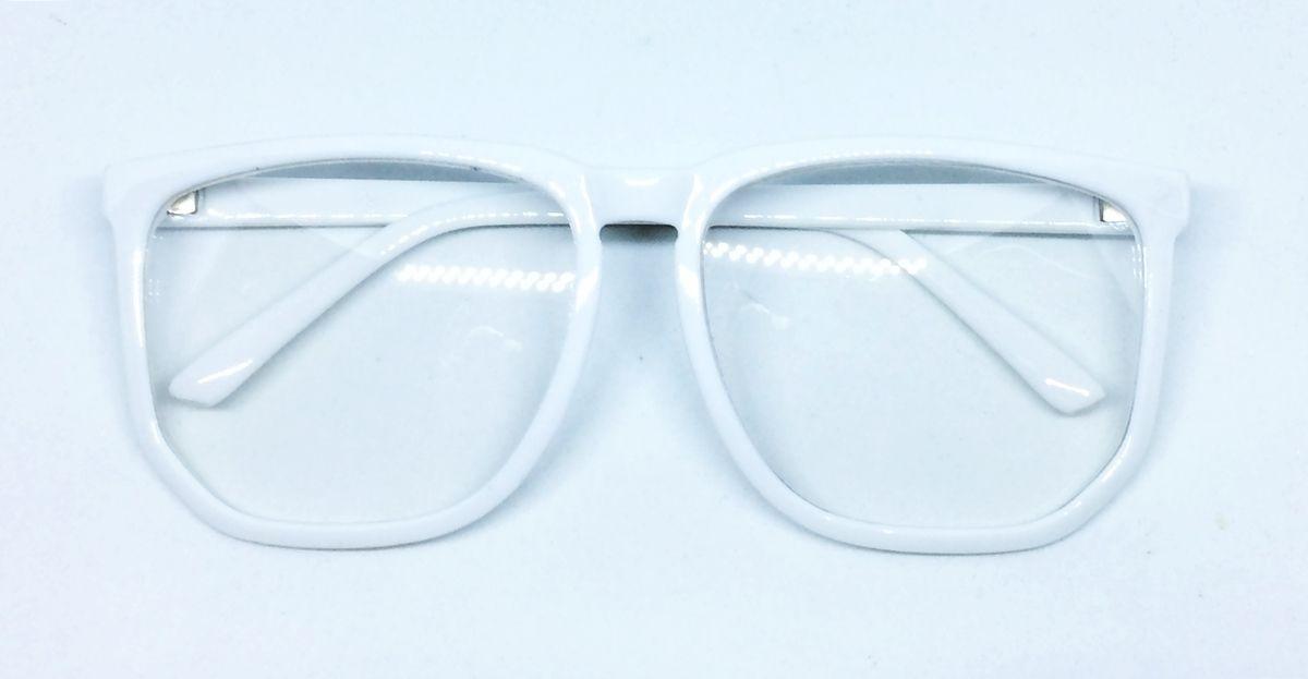 9e807ef918da5 Armação Nerd Retrô Grande Para Óculos De Grau - Branca - R  39,99 em ...