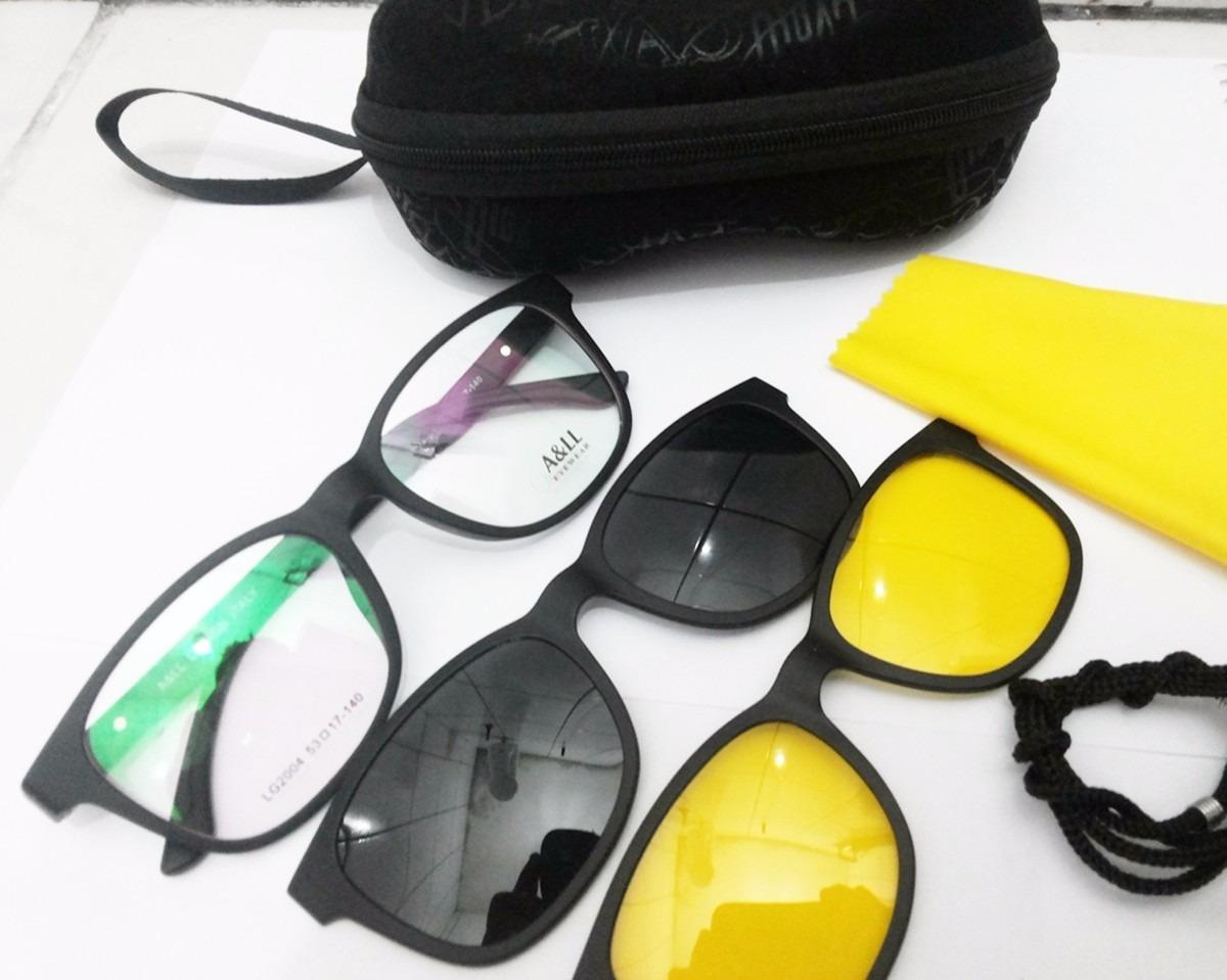 a02e508aeffaa armação óculos 3 em 1 clip on sol noite - frete grátis. Carregando zoom.